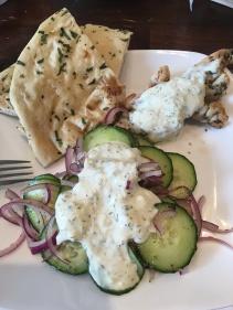 Greek inspired meal with tzatziki sauce. Yum!