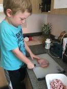 Chopping ham